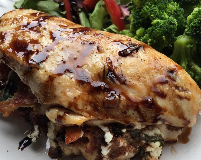 Bacon, Goat Cheese & Basil Stuffed Chicken Breasts